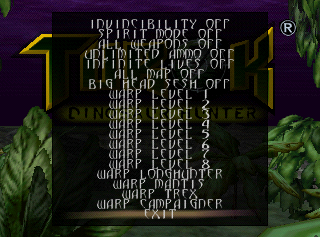 Turok Cheat Menu From The Cutting Room Floor